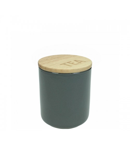 HOMEGURU-Κεραμικό δοχείο με ξύλινο καπάκι, γκρι χρ.,10x12cm
